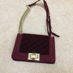 Burgundy / Oxblood faux suede bag